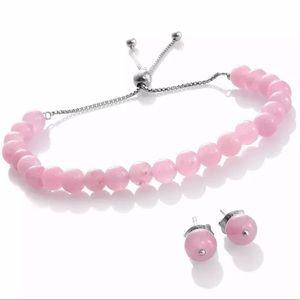 Burmese Pink Jade Bracelet & Earrings Set